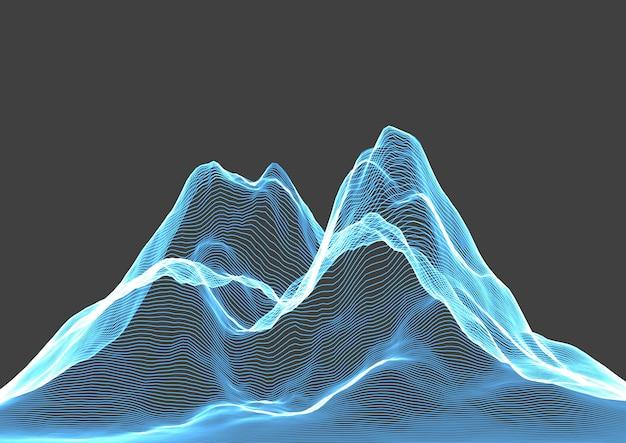 Paisagem de montanha abstrata em wireframe