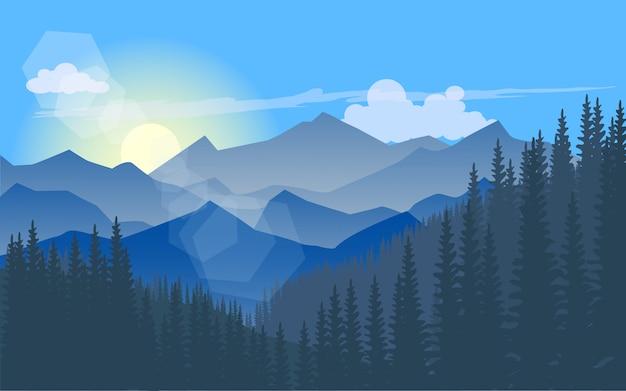 Paisagem de montanha com floresta de pinheiros e céu azul