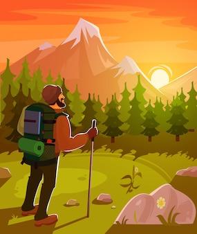 Paisagem de montanha com turista em primeiro plano