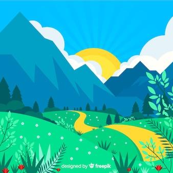 Paisagem de montanha desenhada de mão