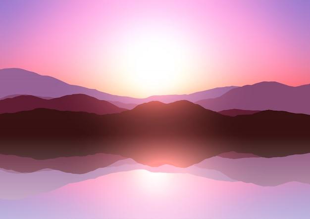 Paisagem de montanha do sol
