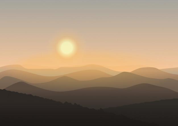 Paisagem de montanha dos desenhos animados no nascer do sol