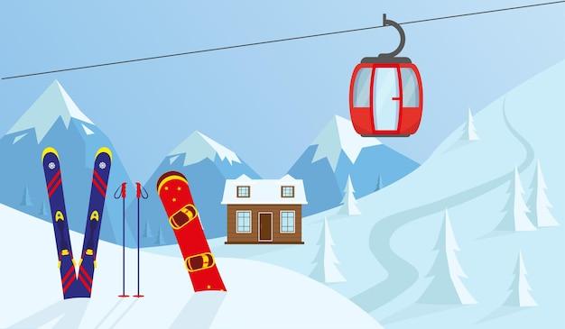 Paisagem de montanha e inverno esqui e snowboard ilustração em vetor conceito esporte de inverno
