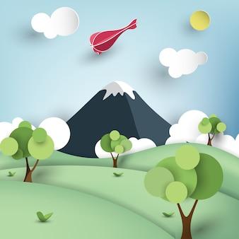 Paisagem de montanha em estilo de arte de papel