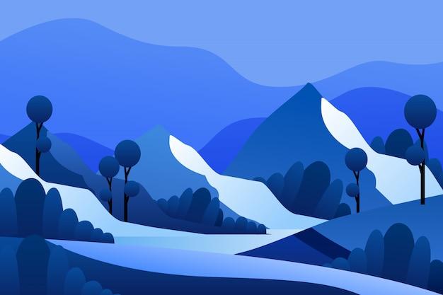 Paisagem de montanha na temporada de inverno