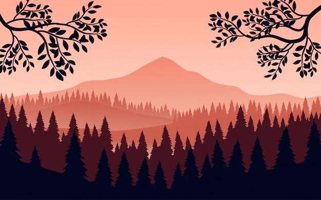 Paisagem de montanha plana com floresta