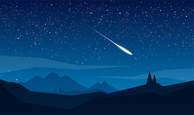 Paisagem de montanhas à noite com estrelas e meteoros.