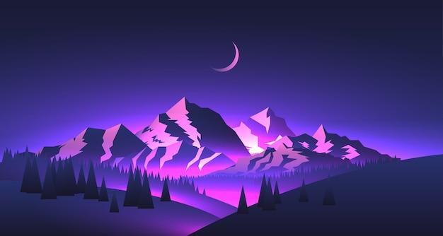 Paisagem de montanhas à noite com picos e vales com brilho roxo e lua com tema de aventura de viagem