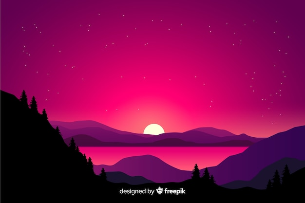 Paisagem de montanhas com céu rosa e montanhas