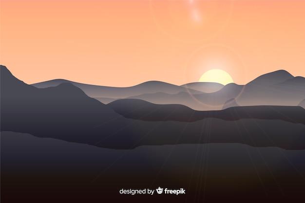 Paisagem de montanhas com sol brilhante