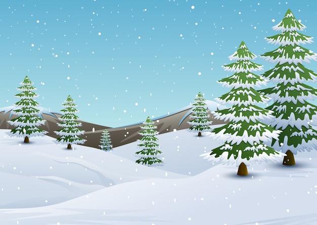 Paisagem de montanhas de inverno com pinheiros e neve caindo