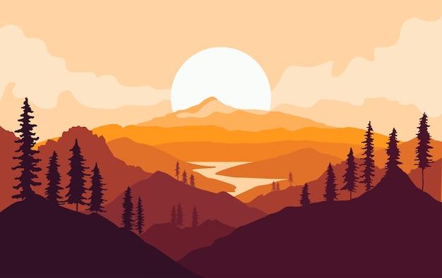 Paisagem de montanhas de outono com silhuetas de árvores e rio ao pôr do sol.