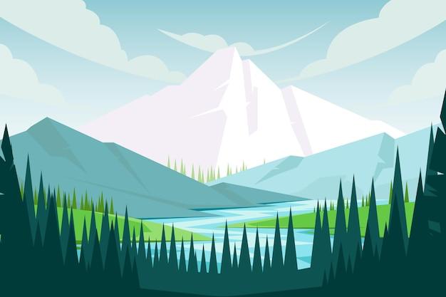 Paisagem de montanhas desenhada à mão