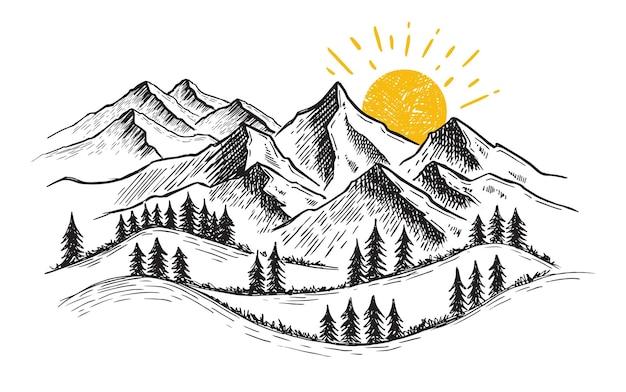 Paisagem de montanhas ilustração desenhada à mão
