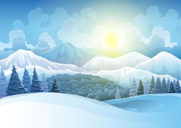 Paisagem de montanhas nevadas de inverno com floresta de pinheiros e colinas no fundo