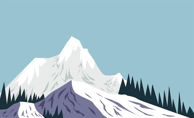 Paisagem de montanhas nevadas em vetor de inverno