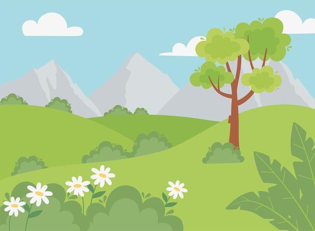 Paisagem de montanhas rochosas arbustos flores, grama e ilustração de árvores