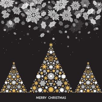 Paisagem de natal e ano novo. árvore de natal com flocos de neve brancos e dourados. queda de neve. ilustração vetorial de inverno para cartão ou fundo preto de convite de festa.