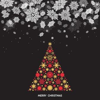 Paisagem de natal e ano novo. queda de neve. árvore de natal com flocos de neve vermelhos e dourados. ilustração vetorial de inverno para cartão ou fundo preto de convite de festa.