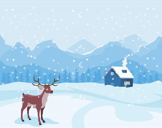 Paisagem de natal no inverno com casa e uma rena.
