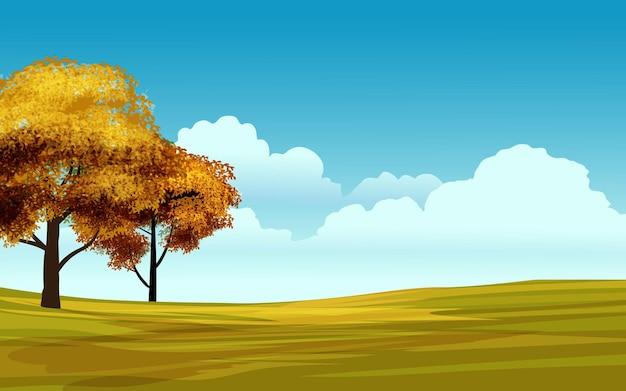 Paisagem de natureza vazia com árvores e dia ensolarado