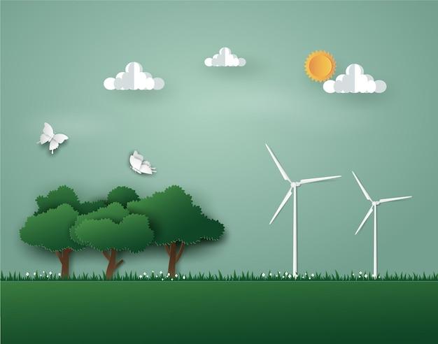 Paisagem de natureza verde com energia ecológica e meio ambiente por turbina eólica.