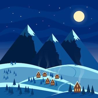 Paisagem de neve à noite de inverno.