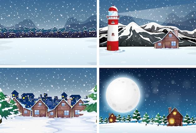 Paisagem de neve à noite