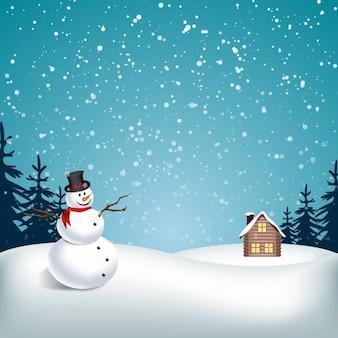 Paisagem de neve com boneco de neve