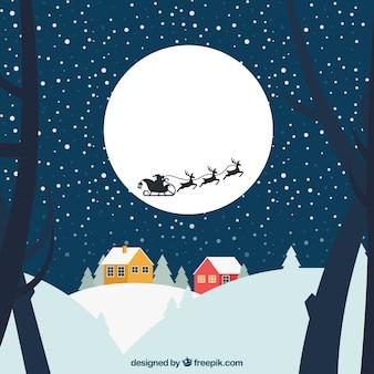 Paisagem de neve com trenó voador do papai noel