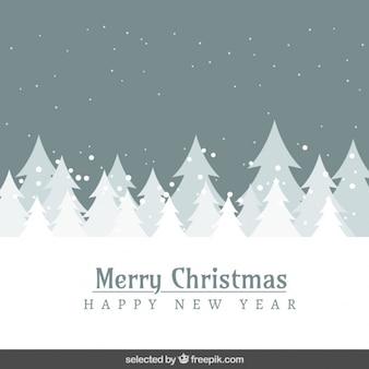 Paisagem de neve e árvores de natal cartão cinzento