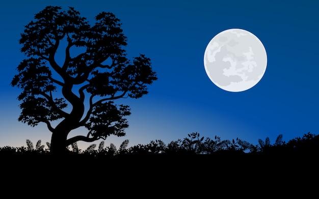 Paisagem de noite com lua cheia e árvore