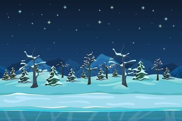 Paisagem de noite de inverno sem costura dos desenhos animados. árvore da neve, desenho da estação,