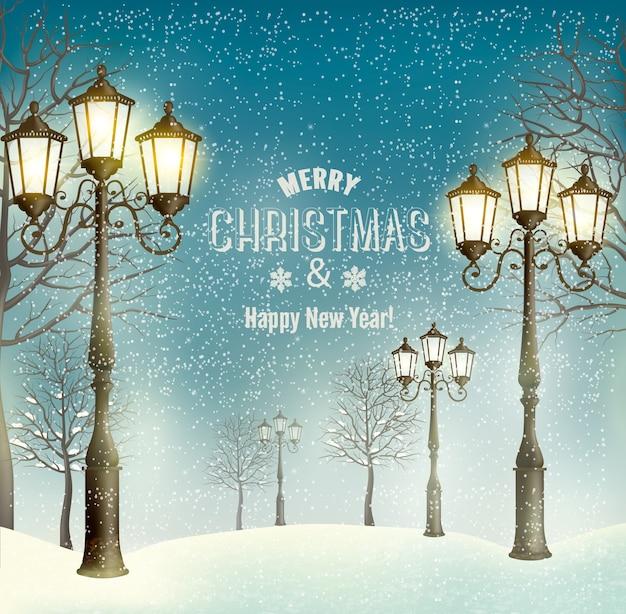 Paisagem de noite de natal com postes de luz vintage.
