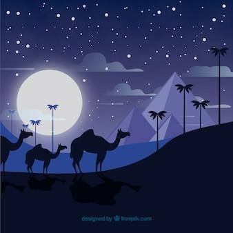Paisagem de noite do egito com caravana e pirâmides