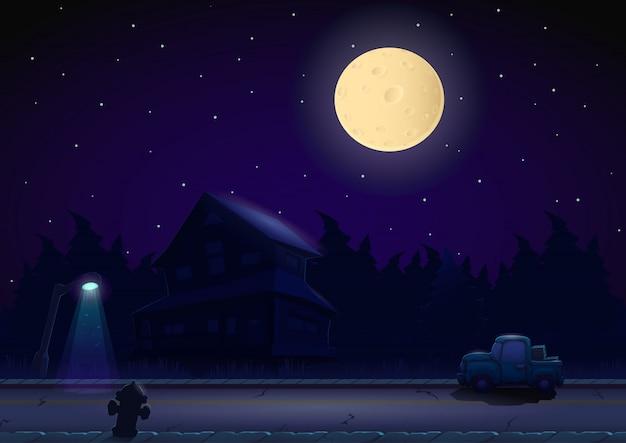 Paisagem de noite dos desenhos animados