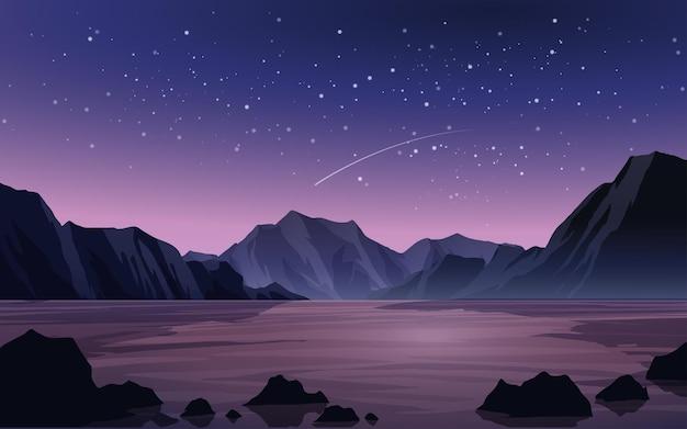 Paisagem de noite estrelada com montanha