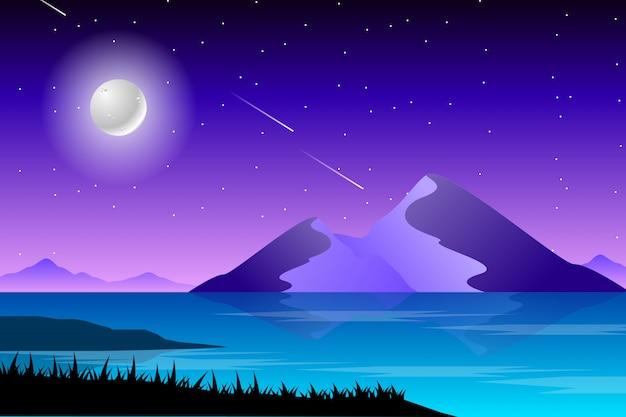Paisagem de noite estrelada e mar paisagem