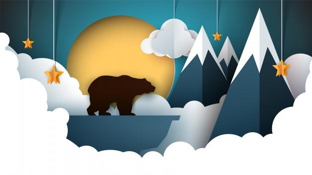 Paisagem de origami de papel. montanha, urso, animais, sol, nuvem, colina, estrela.