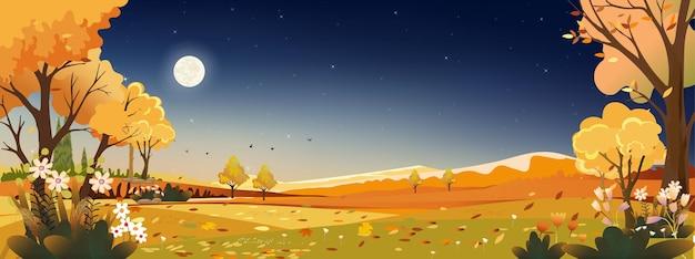 Paisagem de outono à noite, céu com lua cheia e céu azul escuro