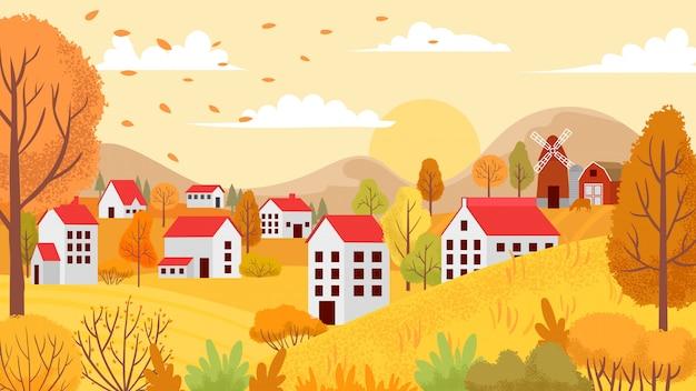 Paisagem de outono aldeia. jardins outonais de campo, árvores amarelas e ilustração de fundo de dia ensolarado