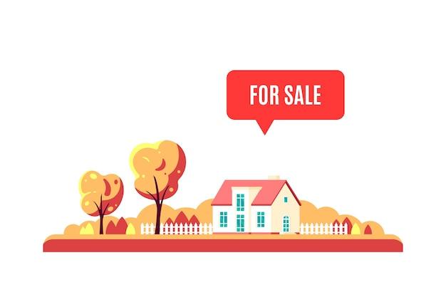 Paisagem de outono com árvores, casa de campo e sinal à venda, isolado no fundo branco.