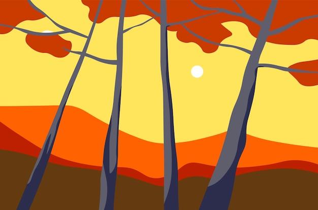 Paisagem de outono com árvores e vetor de vista do pôr do sol