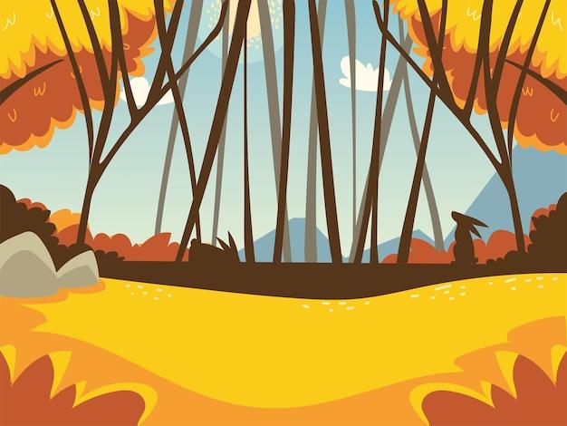 Paisagem de outono com árvores florestais