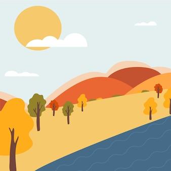 Paisagem de outono com árvores, lago e montanhas. paisagem rural