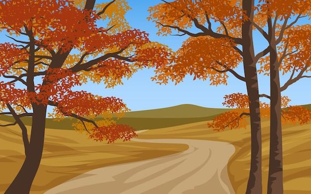 Paisagem de outono com caminho