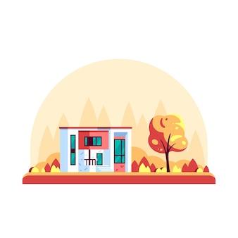 Paisagem de outono com pinheiros e uma villa moderna isolada no fundo branco.