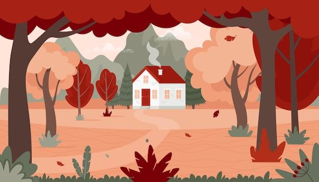 Paisagem de outono com uma casa na floresta e nas montanhas. ilustração em vetor outono