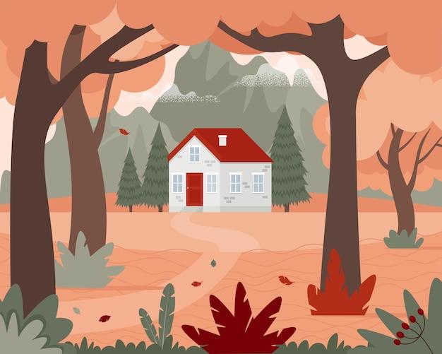 Paisagem de outono com uma casa na floresta e nas montanhas.