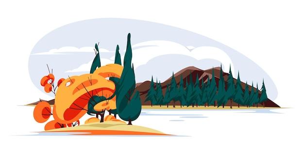 Paisagem de outono da natureza desenhos animados planos mínimos coloridos uma ilha com árvores de outono e pinheiros